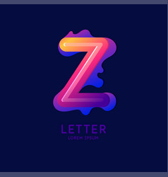 Letter z latin alphabet display vector