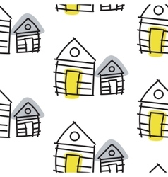 Line hut houses scandinavian ornament hand vector