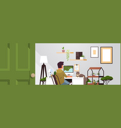 Man freelancer using computer monitor working vector