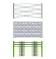 meallic net and concrete fence vector image