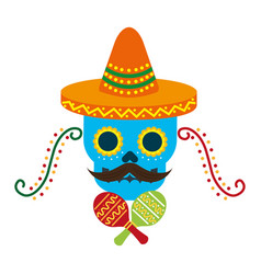 mexican skull with hat maracas decoration vector image