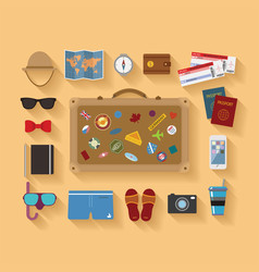 modern flat style icons set for tourism industry vector image