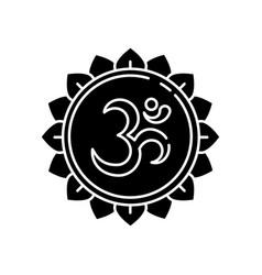 Om black glyph icon vector