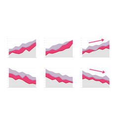 paper graph red and grey curve go up and down vector image