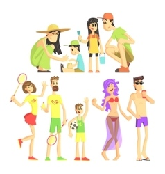 People in summer set vector