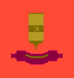 Pixel icon in flat style sausage with ketchup vector