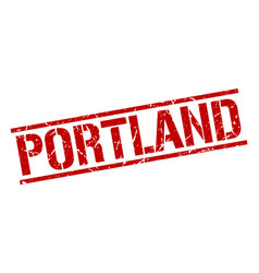 Portland red square stamp vector