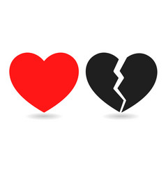 Red icon and black icon of broken heart on white vector