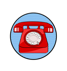 Red old phone icon in pop art retro comic style vector