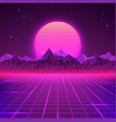 Retro landscape in purple colors futuristic vector