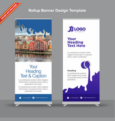 rollup banner with flat indigo and white gooey vector image