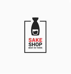 sake shop logo bottle on white background vector image