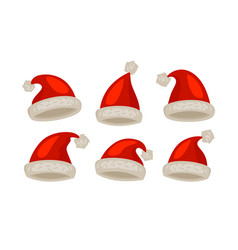 santa claus hat set icons christmas symbol vector image