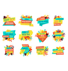 seasonal autumn sale and discount emblems set vector image