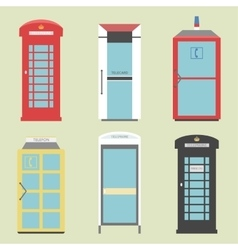 Set of 9 United Kingdom Telephone Boxes from vector image