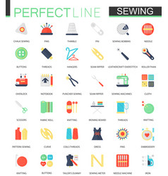 set of flat needlework and sewing equipment vector image