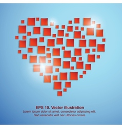 Shiny squares heart Valentines day vector image