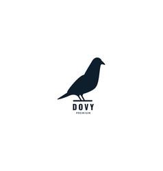 Silhouette animal bird love dove stand side logo vector