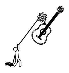 silhouette worker with pulley holding acoustic vector image