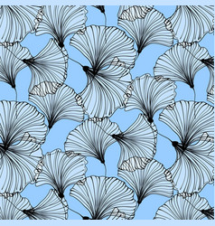 Summer beach pattern blue ginkgo leaves vector
