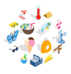 summer icons set isometric 3d style vector image