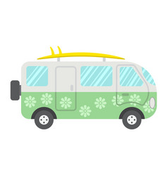 Surfer van flat icon transport and vehicle vector