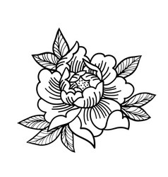Tattoo rose flowertattoo mystic symbol isolated vector
