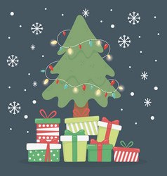 tree with lights many gift boxes celebration merry vector image