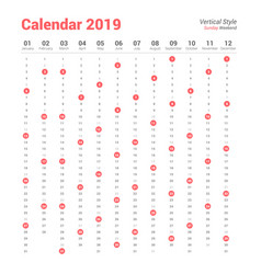 vertical 2019 calendar sunday weekend vector image
