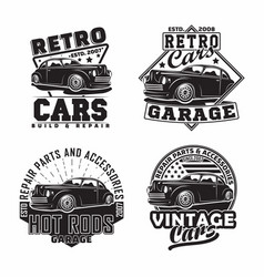 Vintage monochrome hot rod garage logo design vector