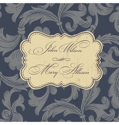 Wedding card design vintage vector