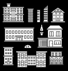 white houses icons on black background vector image