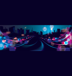 Wide panorama big city nightlife with street vector