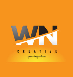 Wn w n letter modern logo design with yellow vector