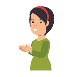 Woman applauding avatar character vector
