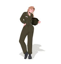 Woman pilot in uniform holding helmet aviation vector