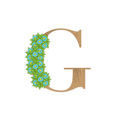 wooden leaves letter g vector image