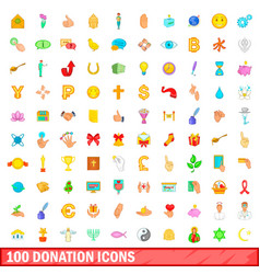 100 donation icons set cartoon style vector image