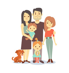 flat family with pets isolated on white background vector image