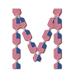 Letter M made of USA flags in form of candies vector image vector image