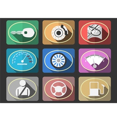 Automotive flat icons vector image