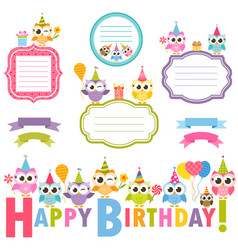frames with owls for birthday card vector image vector image