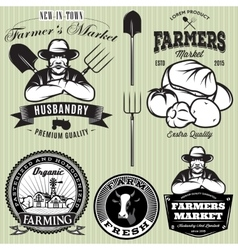 set badges with the farmer and vegetables for the vector image vector image