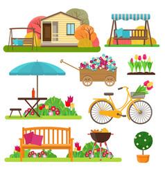 set of beautiful garden scene with flowers bike vector image vector image