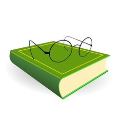 spectacles and green book on a white background vector image vector image