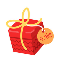 Big red present for sale on white background vector