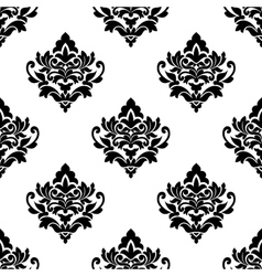 Black and white repeat floral arabesque pattern vector image