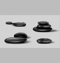 collection of black spa stones pebble set vector image