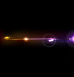 orange purple glow lens flare effect design vector image