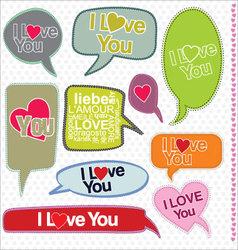 Speech bubbles retro design I love you vector image